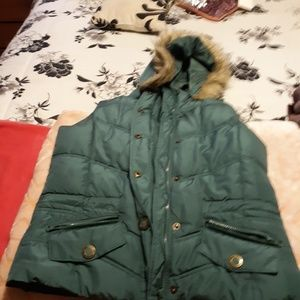 Puffy Maurice's vest with fur lined hood